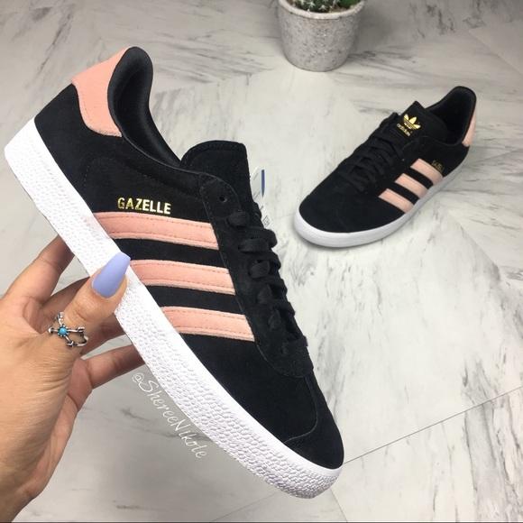 Adidas Gazelle Shoe Black Suede Pink Velvet Sz 6.5 NWT